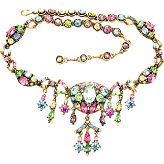 32410a - Signed HOLLYCRAFT 1955 Pastel Multi Dangles Necklace - EXTRAordinaire