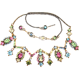 32419a - Signed Hollycraft Dated 1955 Multi Color Pastel Necklace