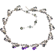 32446a - Signed Hollycraft 1957 Charcoal Stones Satin Silvertone Necklace