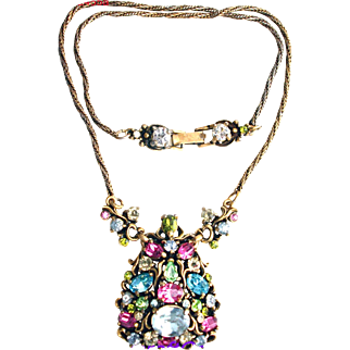 32455a - Signed Hollycraft 1950 Pastel Christmas Tree Pendant Necklace
