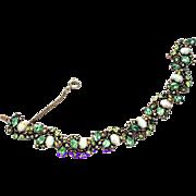 32464a - Hollycraft 1951 Peridot Green Stones & Opal Cabochons Bracelet