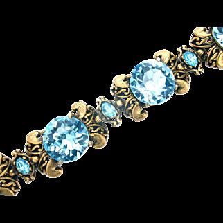 32488a - Signed Hollycraft 1952 Large Aquamarine Rhinestones 5-Sections Bracelet