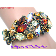 32501a - Hollycraft Brown Topaz Peach & Yellow AB Molded Leaves Hinged Bracelet