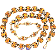 32527a - Signed HOLLYCRAFT 1953 Topaz Colored & Pearls Necklace/Choker/Collar