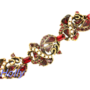 32577a - Signed Hollycraft 1953 Red Stones & Half-Pearls 6-Section Bracelet