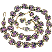 32626a - Signed Hollycraft 1953 Amethyst Stones & Creamy Faux Pearls Necklace