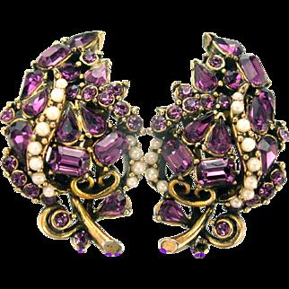 32649a - Signed HOLLYCRAFT 1953 Amethyst & Faux Half Pearls Huge Clip Earrings