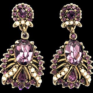 32664a - Signed HOLLYCRAFT 1953 Amethyst & Faux Half Pearls Drop Dangle Earrings Set