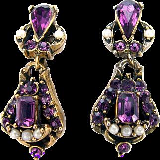 32670a - Signed HOLLYCRAFT 1953 Amethyst & Faux Half Pearls Dangle Earrings Set
