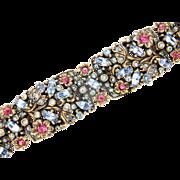 32710a - Signed Hollycraft 1950 Pink Flower & Light Blue Rhinestones Bracelet