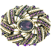 32717a - Signed HOLLYCRAFT 1954 Egg Shape Amethyst & Seed Pearls Brooch/Pin