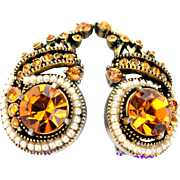 32733a - Signed Hollycraft 1954 Topaz Huge Stone & Faux Pearls Huge Clip Earrings