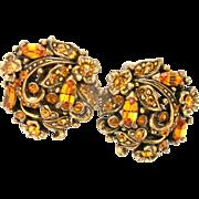 32744a - Hollycraft 1950 Topaz Rhinestones Clip Back Round Earrings
