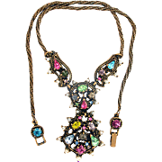 32747a - Signed HOLLYCRAFT 1951 Color Pastel Stones & Pearls Pendant/Necklace