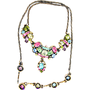 32749a - Signed HOLLYCRAFT 1955 Multi Pastel Necklace with Center Pendant