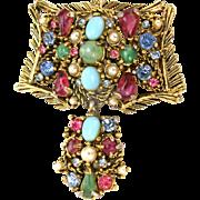 32771a - Signed Hollycraft Jade Aqua Pearls Pink Blue Stones Pendant/Brooch/Pin