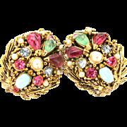32778a - Signed Hollycraft Jade Aqua Pearls Pink Blue Stones Clip Earrings