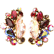 32800a - Signed Hollycraft Light & Bright Red & Pink AB Molded Leaves Clip Earrings