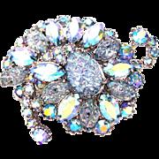 32804a - Hollycraft Baby Blue Iridescent Crackle & Clear AB Rhinestone Brooch