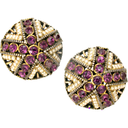 32831a - Signed Hollycraft 1954 Purple Chaton Stones & Faux Pearls Clip Earrings