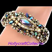 32834a - Hollycraft 1956 Black/Blue AB & Clear Crystal AB Double Hinged Bracelet