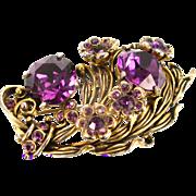 32841a - Signed Hollycraft 1954 Dark Amethyst (Purple) Rhinestones Flower Brooch