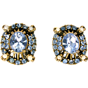 32848a - Signed HOLLYCRAFT 1953 Baby Blue Stones & Faux Half Pearls Earrings Set