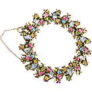 32851a - Signed Hollycraft 1950 Multi Color Pastel 19 Sections Awesome Bracelet