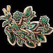 32872a - Signed Hollycraft 1950 Green Emerald Rhinestones Brooch/Pin