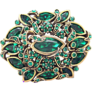 32875a - Signed Hollycraft 1950 Green Emerald Oval Shaped Brooch/Pin