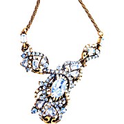 32882a - Signed Hollycraft 1953 Light Sapphire Stones & Creamy Pearls Necklace