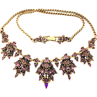 32890a - Signed Hollycraft 1950 Amethyst Flower & Oval Stones Drip Necklace