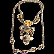 32897a - Signed HOLLYCRAFT 1954 Easter Egg Topaz & Pearls Dangling Necklace