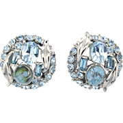 32911a - UNSigned HOLLYCRAFT Turquoise & Aquamarine Stones Earrings Set