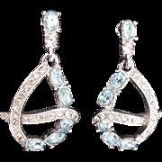 32975a - Signed HOLLYCRAFT 1953 Aquamarine Oval Stones Dangle Earrings Set