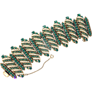 33308a - Signed HOLLYCRAFT 1954 Emerald & Pearls Extra Wide Bracelet Spectacular