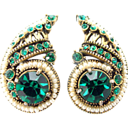 33324a  Signed Hollycraft 1954 Green Emerald & Faux Pearls Huge Clip Earrings