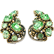 33424a - Signed HOLLYCRAFT 1954 Green Peridot Color Clip Back Earrings