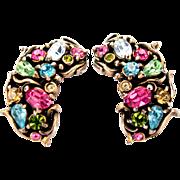 33428a - Signed HOLLYCRAFT 1950 Multi PaSTeL Rhinestones Half Moon Earrings