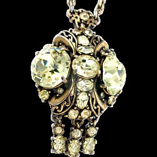 33698a - Signed Hollycraft 1952 Huge Jonquil Rhinestones Necklace/Pendant