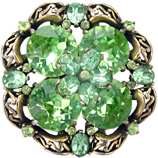 33716a - Signed HOLLYCRAFT 1952 Green Peridot Color Huge Round Stones Brooch/Pin