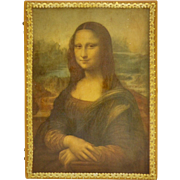 Mona Lisa Decoupage Painted Gold Wood Hinged Trinket Box