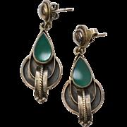 Sterling Silver & Green Onyx Mexican Style Pierced Earrings