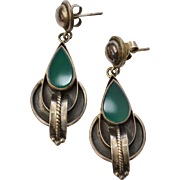 Sterling Silver & Green Onyx Mexican Style Pierced Earrings