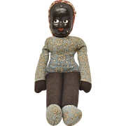 Old Poland Made Black Americana Shell Mask Face Handmade Rag Doll