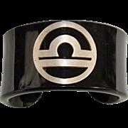 Signed Lalaounis Sterling Silver Modernist Greek Black Lucite Cuff Bracelet