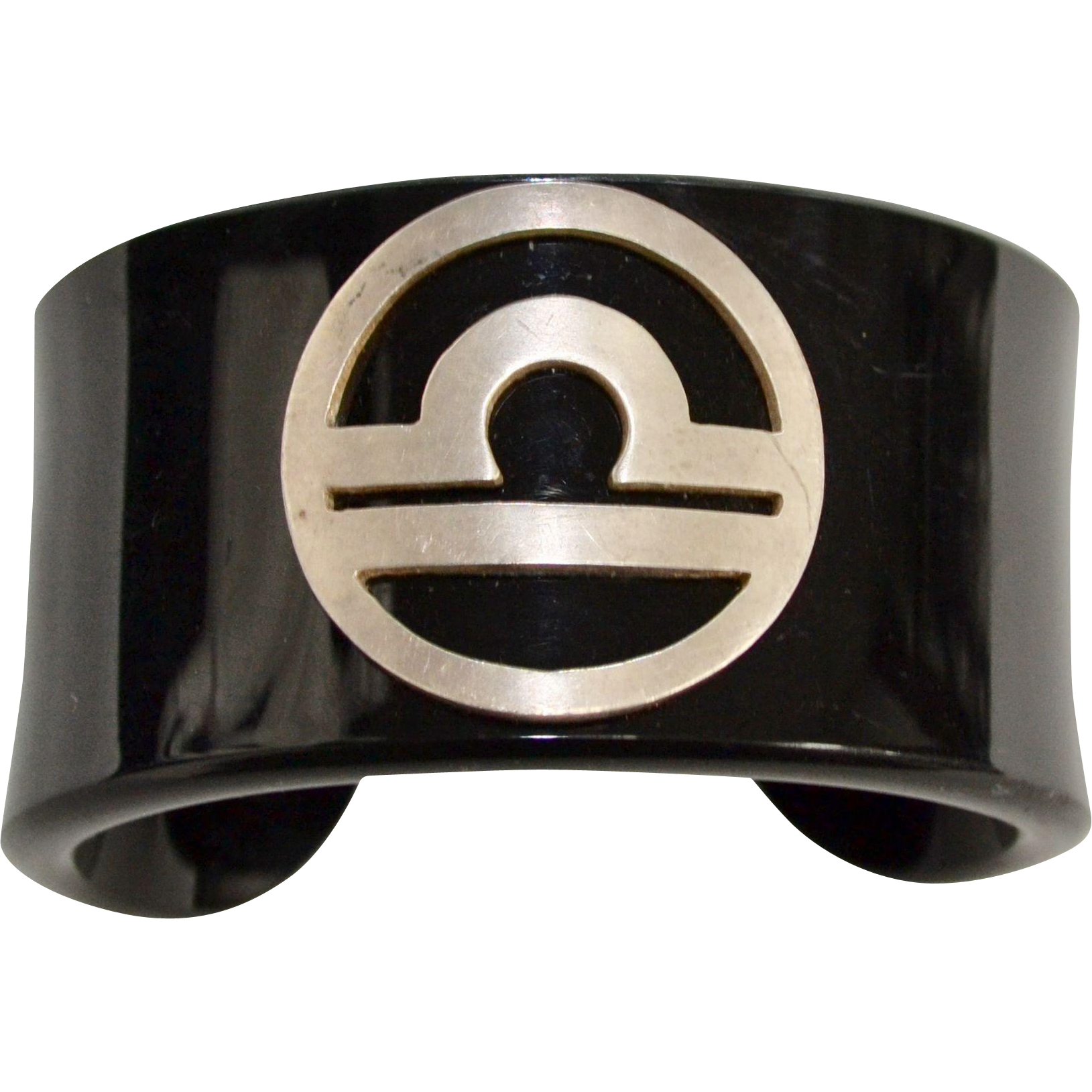 Signed Lalaounis Sterling Silver Modernist Greek Black Lucite Cuff Bracelet