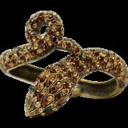 Large Coiled Snake Gold Rhinestone Clamper Bracelet