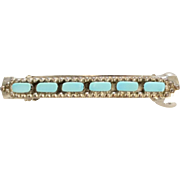 Sterling Silver Blue Turquoise Southwestern Style Hair Barrette