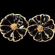 Black Enamel Daisy Flower Clip Earrings
